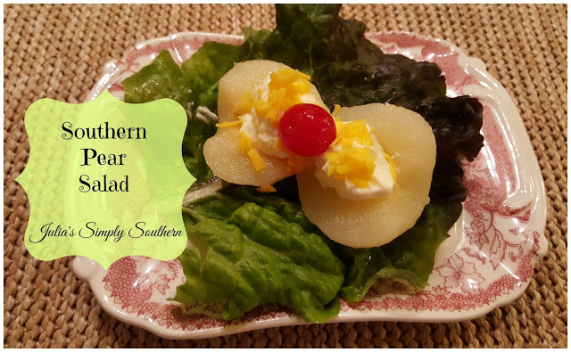 pear salad with cherry on top
