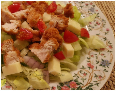 Chopped Salad with Fried Chickebn
