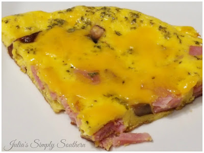 wedge slice of frittata with ham and mushrooms