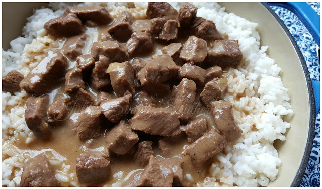 Stewed Beef Tips and Rice