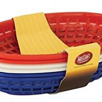 Tablecraft H1074RWB 6 Piece Classic Oval Plastic Baskets, Red/White and Blue