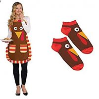 FAKKOS Design Funny Thanksgiving Turkey Apron & Matching Cute Socks Gift Set
