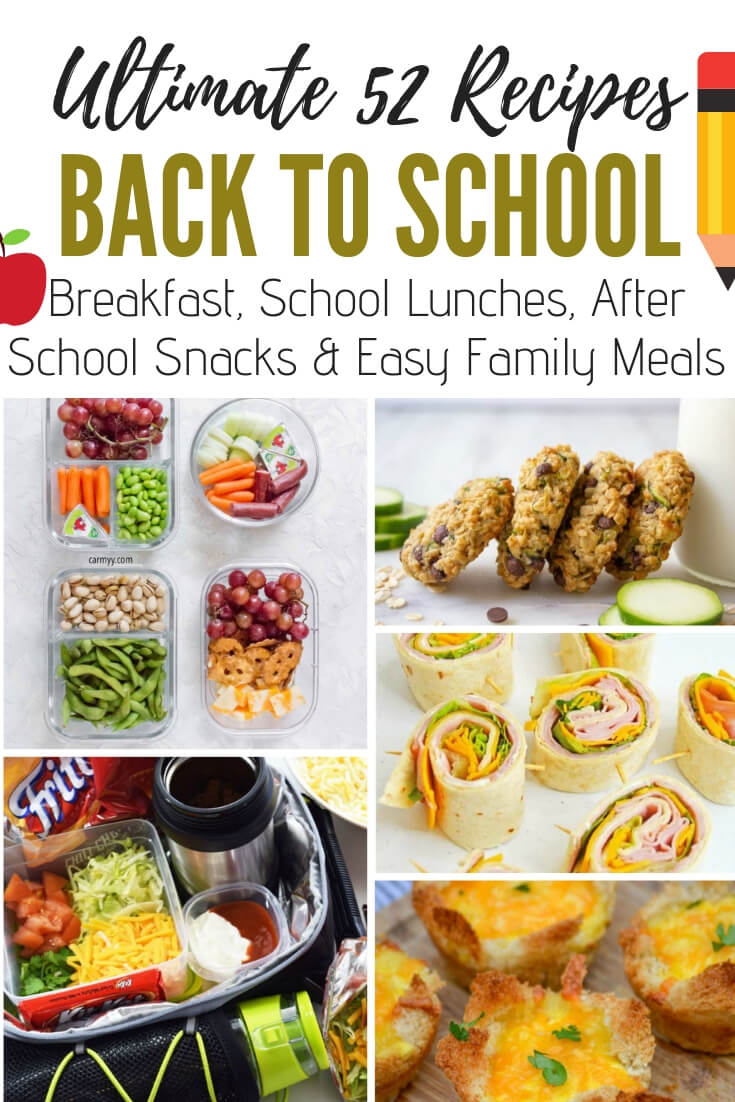 The ulitmate collection of back to school recipes. 52 Best Ever breakfast ideas, healthy school lunches, after school snacks and quick and easy family meal recipes to get you through the year ahead #BacktoSchool #breakfast #lunch #healthy #easyrecipes #snacks #familydinner