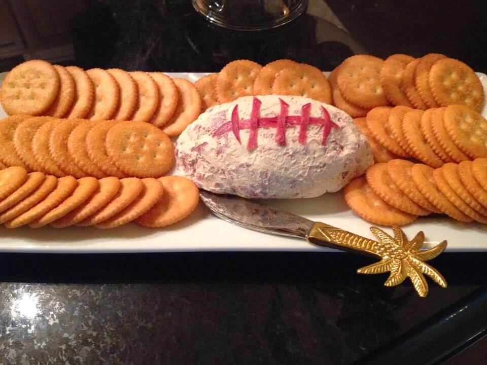 Football shaped dried beef cheese ball appetizer