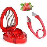 Strawberry Huller Top Stem Remover And Strawberry Slicer Set/Good Grips Easy-Release Tomato Potato Corer/Kitchen Fruit Gadgets Tools Red