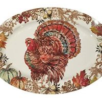 Fall Harvest Thanksgiving Turkey Heavyweight Melamine Oval Serving Platter, 20-Inch x 14-Inch