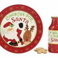 Burton & Burton Cookies For Santa Christmas Gift Set With Plate & Milk Bottle, Red