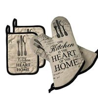 AIYUE Oven Mitts and Pot Holders - Long Sleeves Heat Resistant Oven Gloves with Soft Cotton Infill Non-Slip Cooking Gloves for Kitchen Cooking Baking BBQ Grilling