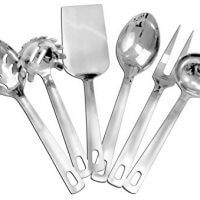 Complete Serving Spoon & Utensil Set (6-Piece Set); Includes Pasta Server, Fork, Spoon, Slotted Spoon, Ladle, Cake/Casserole Server; Stainless Steel Classic Plain Handle Flatware