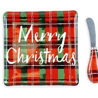 Tartan Plaid Merry Christmas Holiday Cheese Tray with Spreader