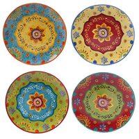 Tunisian Sunset Dinner Plates, Set of 4, Multicolored