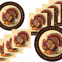 Thanksgiving Turkey Fall Plates and Napkins Bundle for 16 Guests - Thanksgiving Splendor