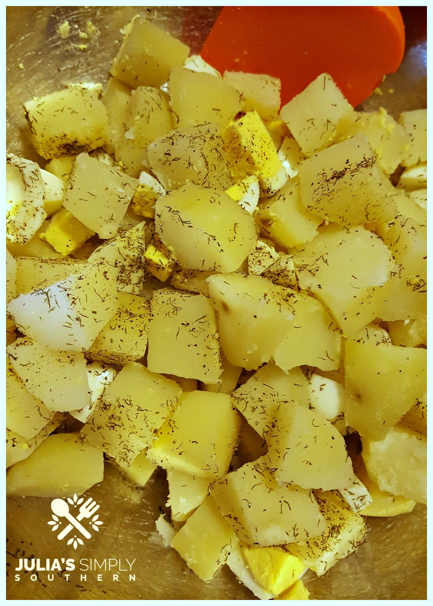 Making an easy potato salad for 2 people