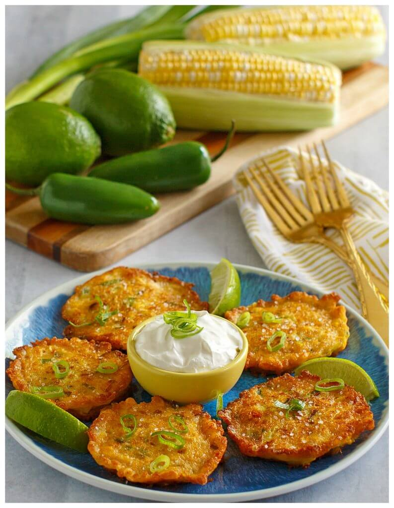 Parmesan Cheese Corn Fritters with fresh corn kernels