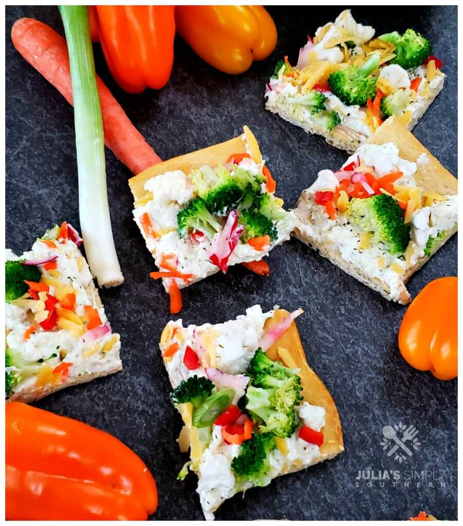 Delicious ranch veggie appetizer pizza recipe