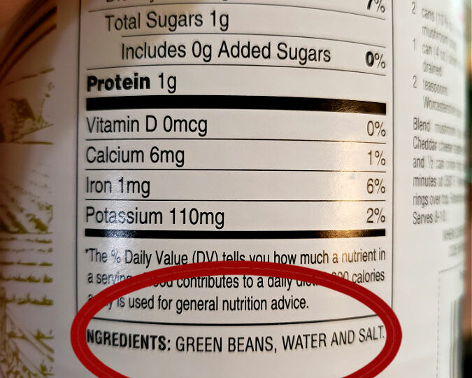 Ingredients on a can of Hanover Green Beans