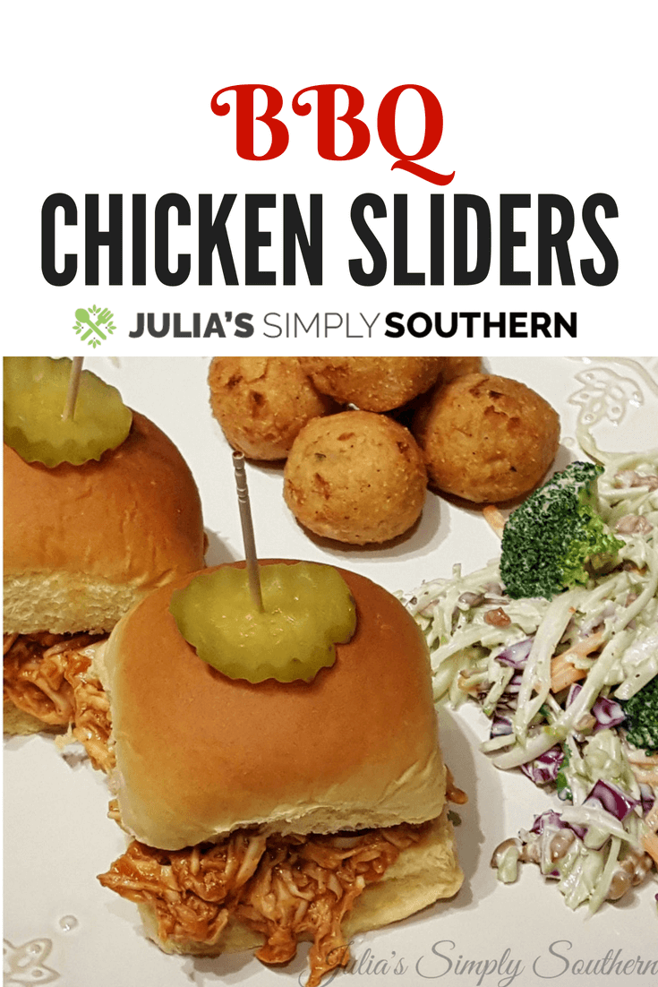 BBQ Chicken Sliders are delicious and easy to prepare. These mini barbecue sandwiches are great served as an appetizer or make it a meal with a couple of side dishes, such as slaw and hush puppies #BBQ #chicken #chickenrecipes #Sliders #sandwich #barbecue #easyrecipe #appetizer | Julia's Simply Southern