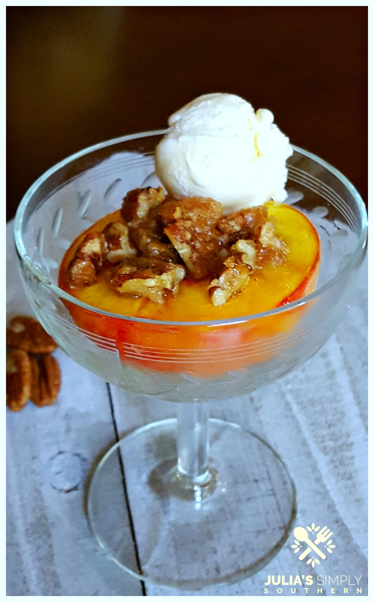 Delicious bourbon peach dessert baked in the oven