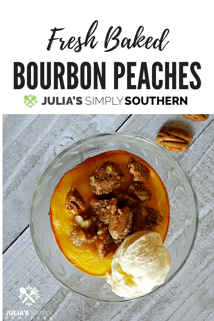 Looking for a delicious peach dessert? Bourbon Peaches have just the right amount of sweetness with the zing of the bourbon. A delicious dessert served with a scoop of ice cream. #dessert #dessertrecipes #peaches