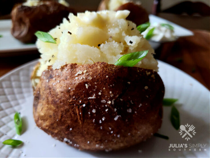 Air Fryer Baked Potato with butter and sour cream
