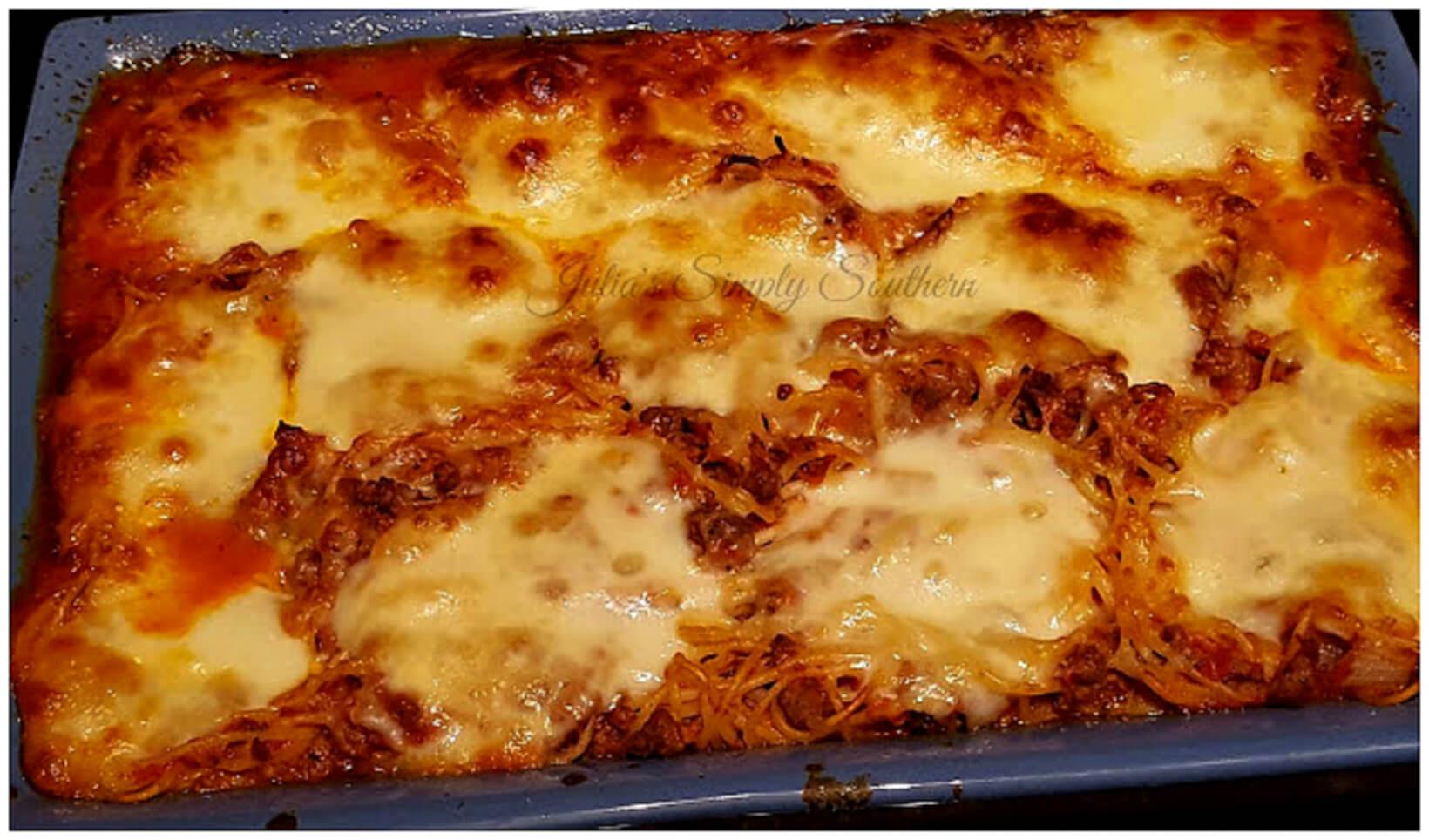 Baked Spaghetti with mozzarella