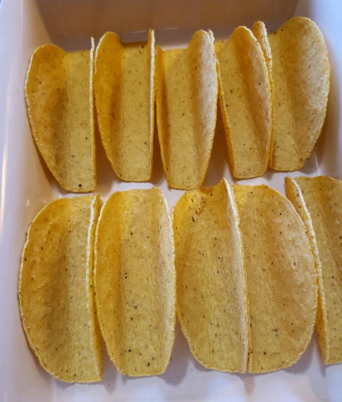 Crunchy Taco Shells in a baking dish