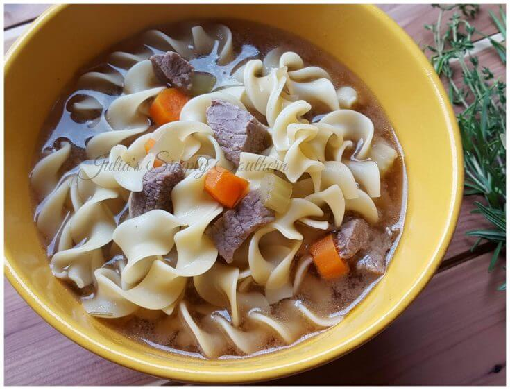 beef noodle soup in a flavorful broth