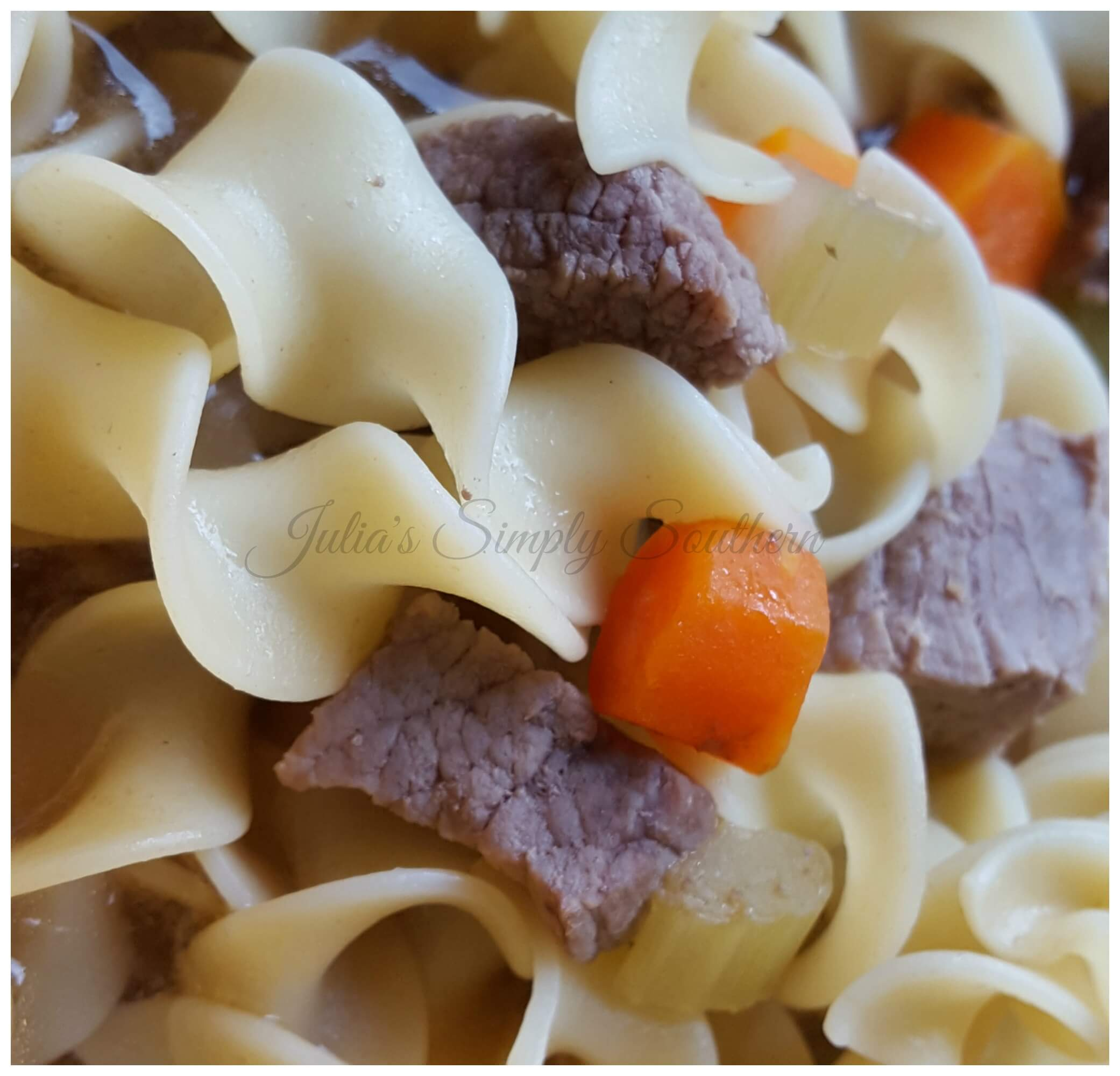 Beefy Noodle Soup with carrots