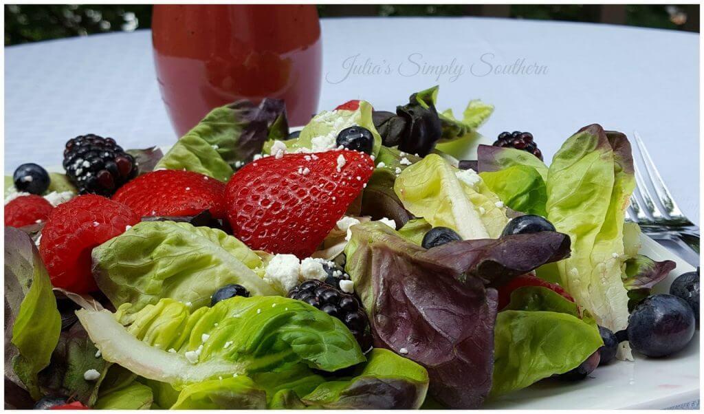 Strawberry, Blackberry, Blueberry, Raspberry salad on mixed greens