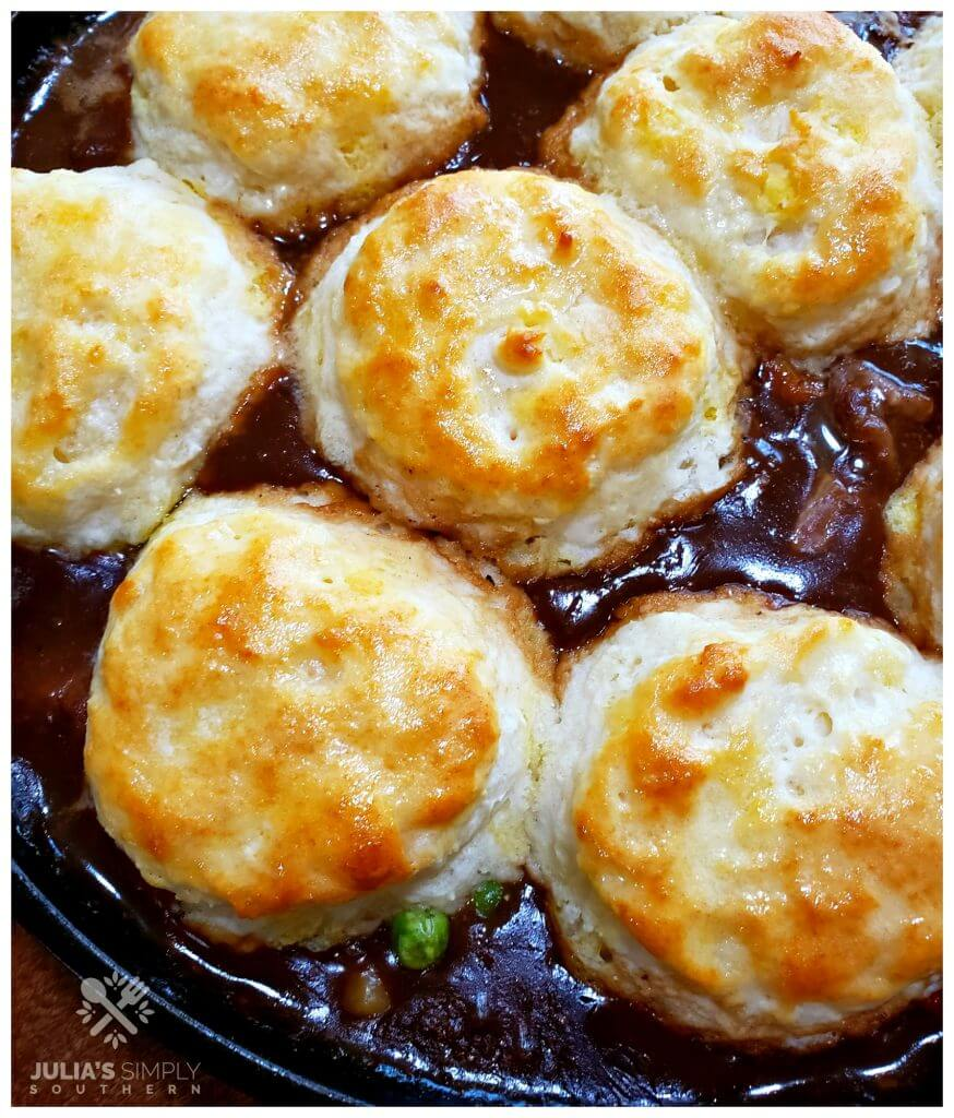 Buttermilk Biscuit topping for beef pot pie in a cast iron skillet recipe