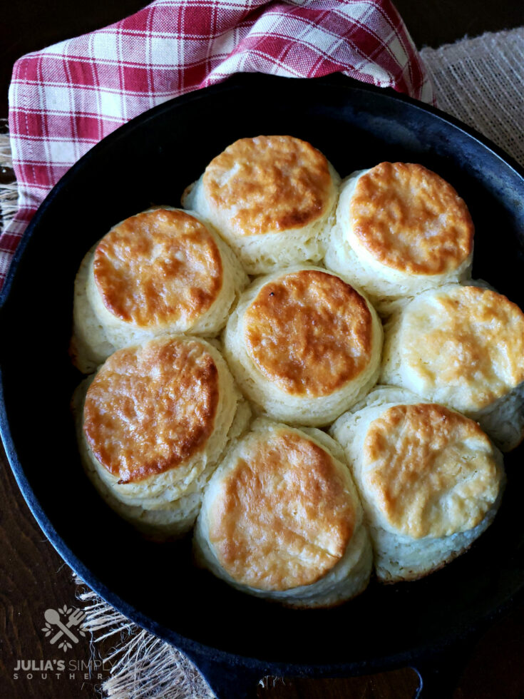 Southern Self Rising Biscuits Recipe in a Lodge Cast Iron Skillet