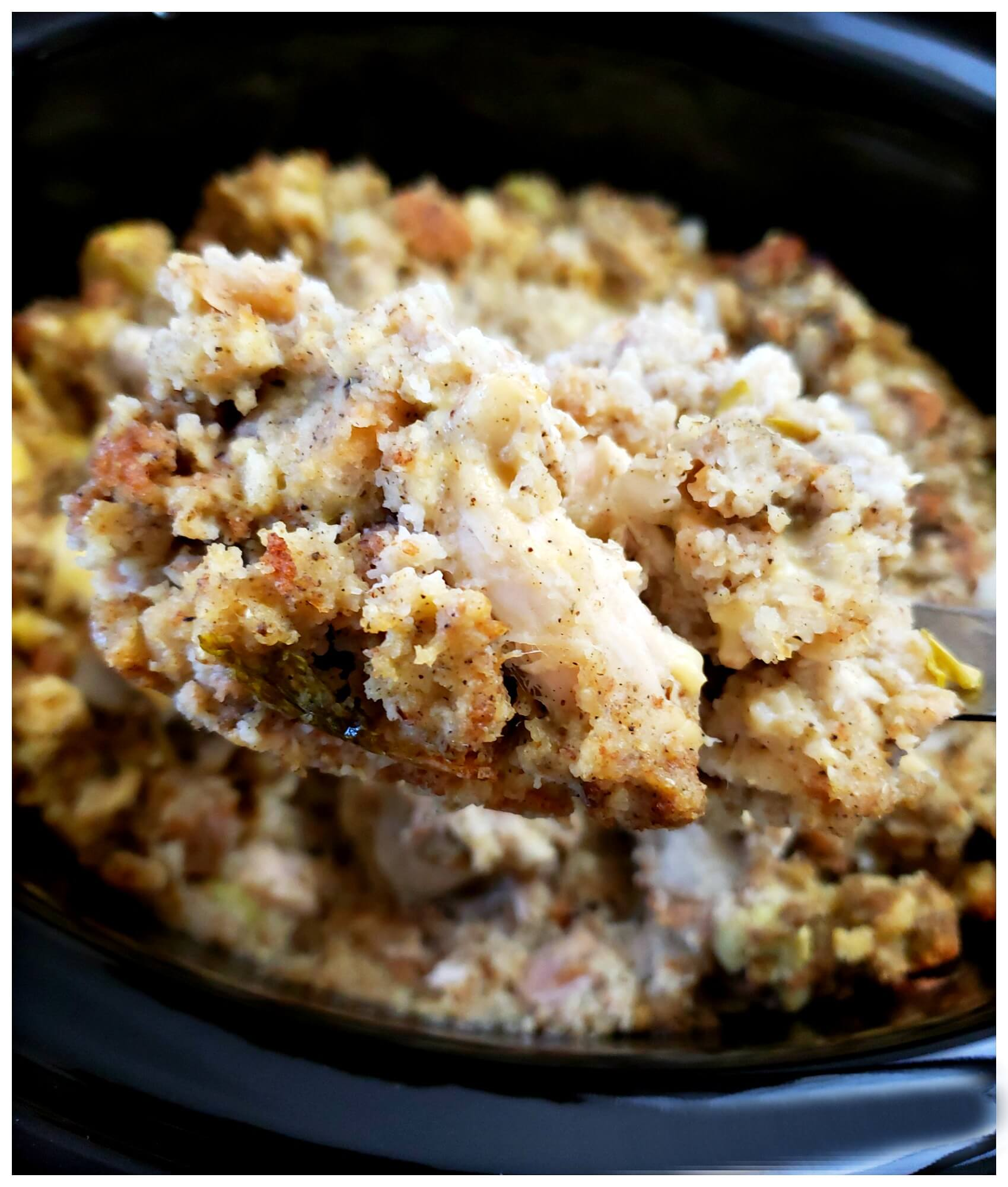 Easy and delicious recipe for Southern chicken and cornbread dressing in a Crock Pot.