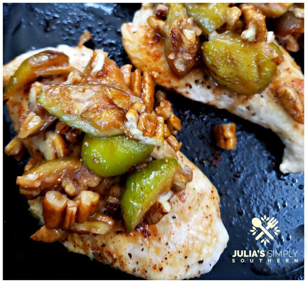 Best food blog recipe for chicken breast topped with sauteed honeyed figs and pecans