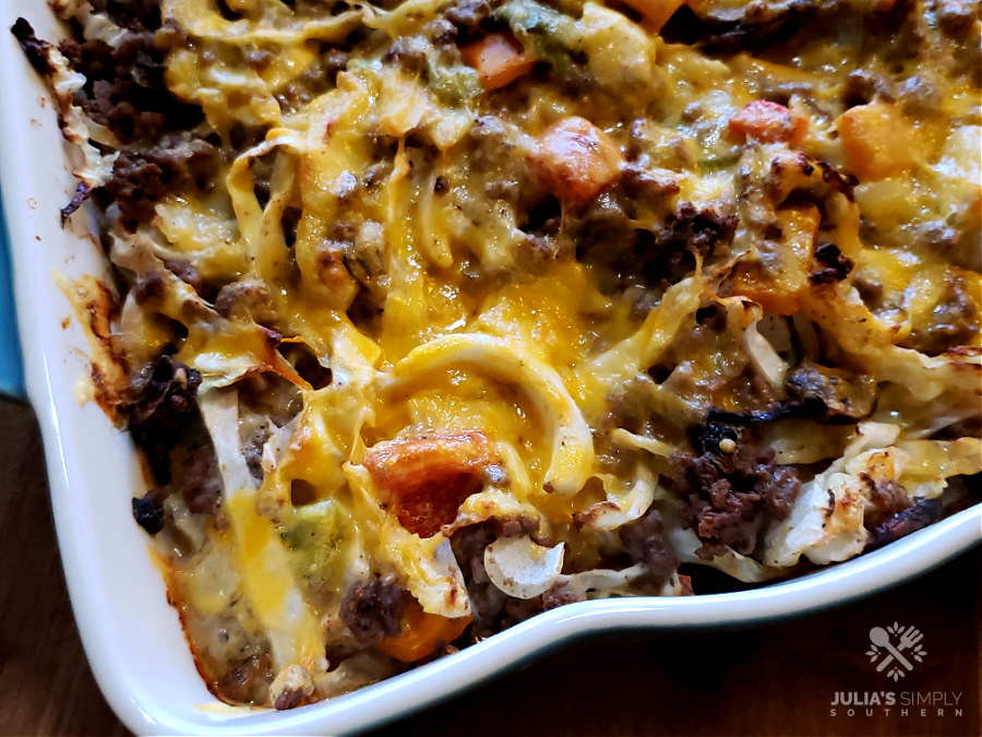 Beef, cabbage and vegetable casserole in a creamy sauce topped with cheese