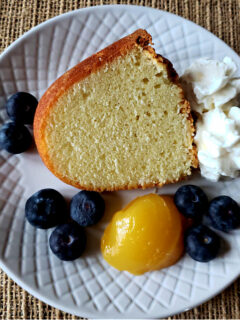 Pound Cake from scratch - slice on a plate - paula