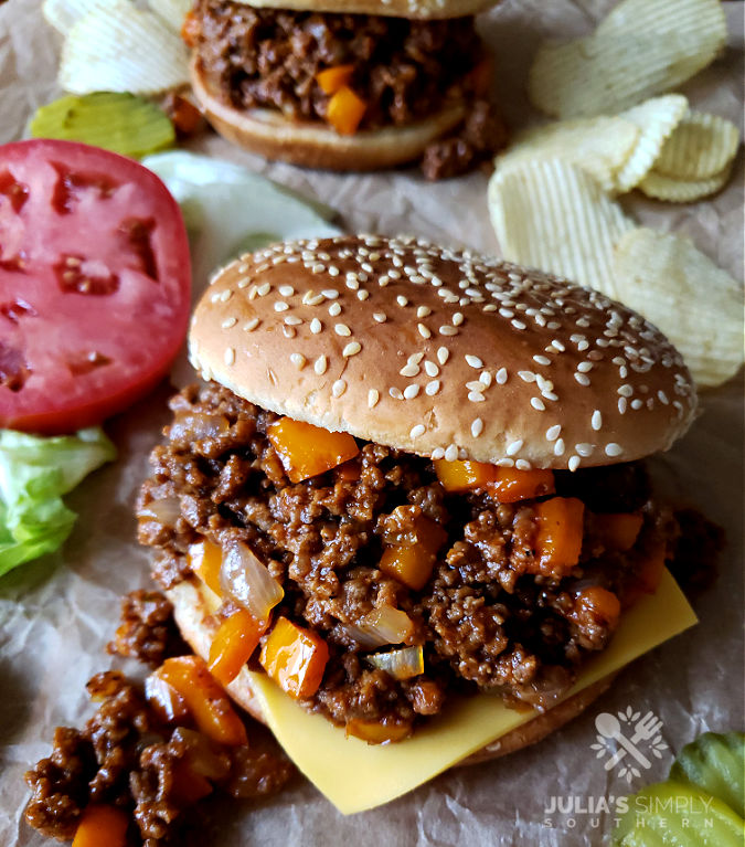 Sloppy Joe loose meat sandwiches with homemade sauce