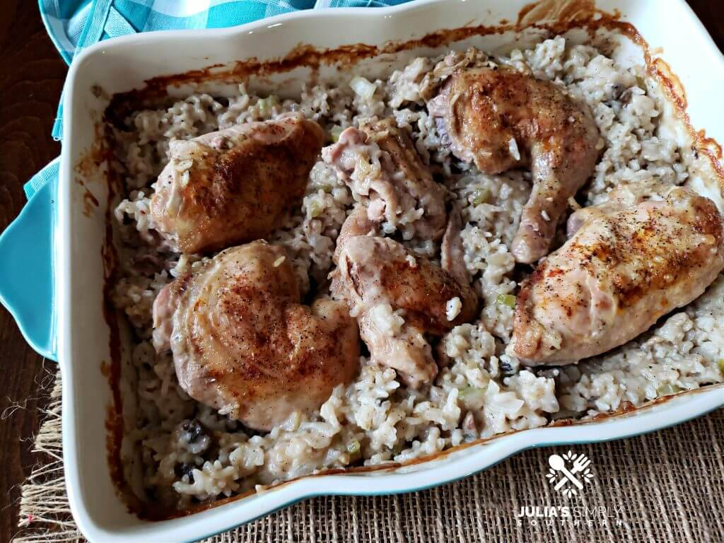 Wonderful baked chicken and rice casserole dinner
