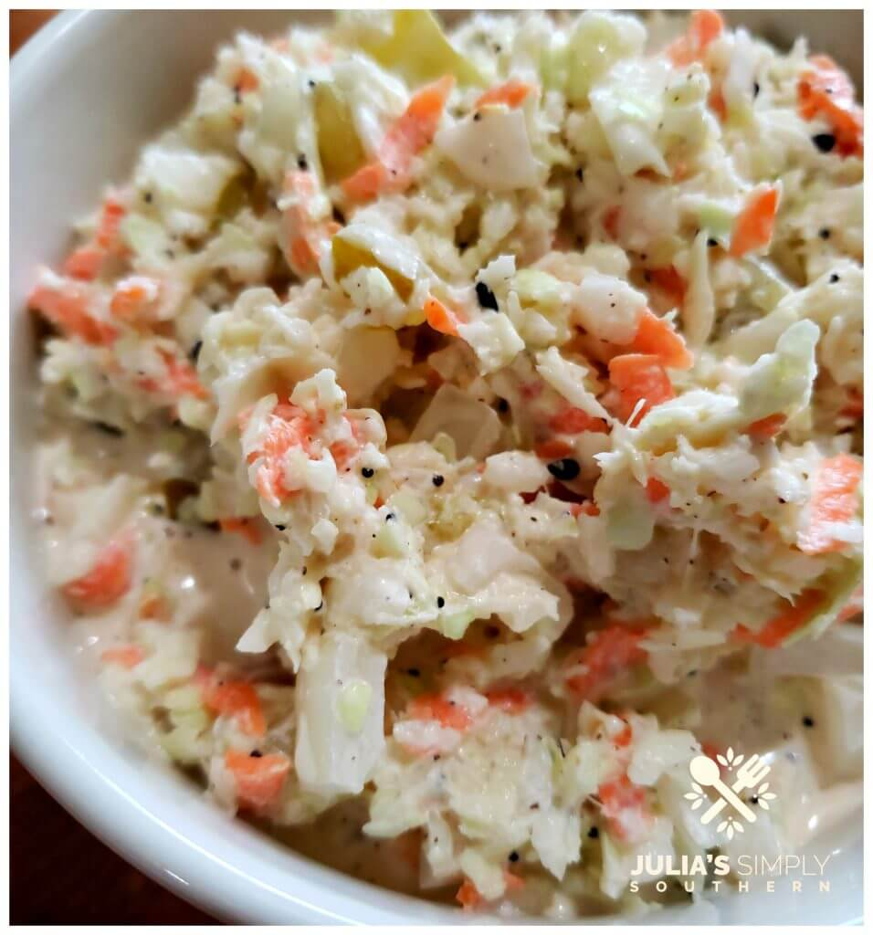 Amazing coleslaw recipe in a serving bowl