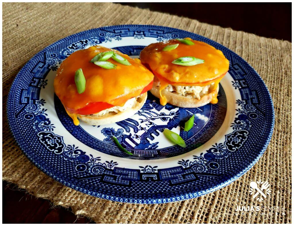 Amazing tuna melts recipe served on a classic blue and white china plate topped with scallions