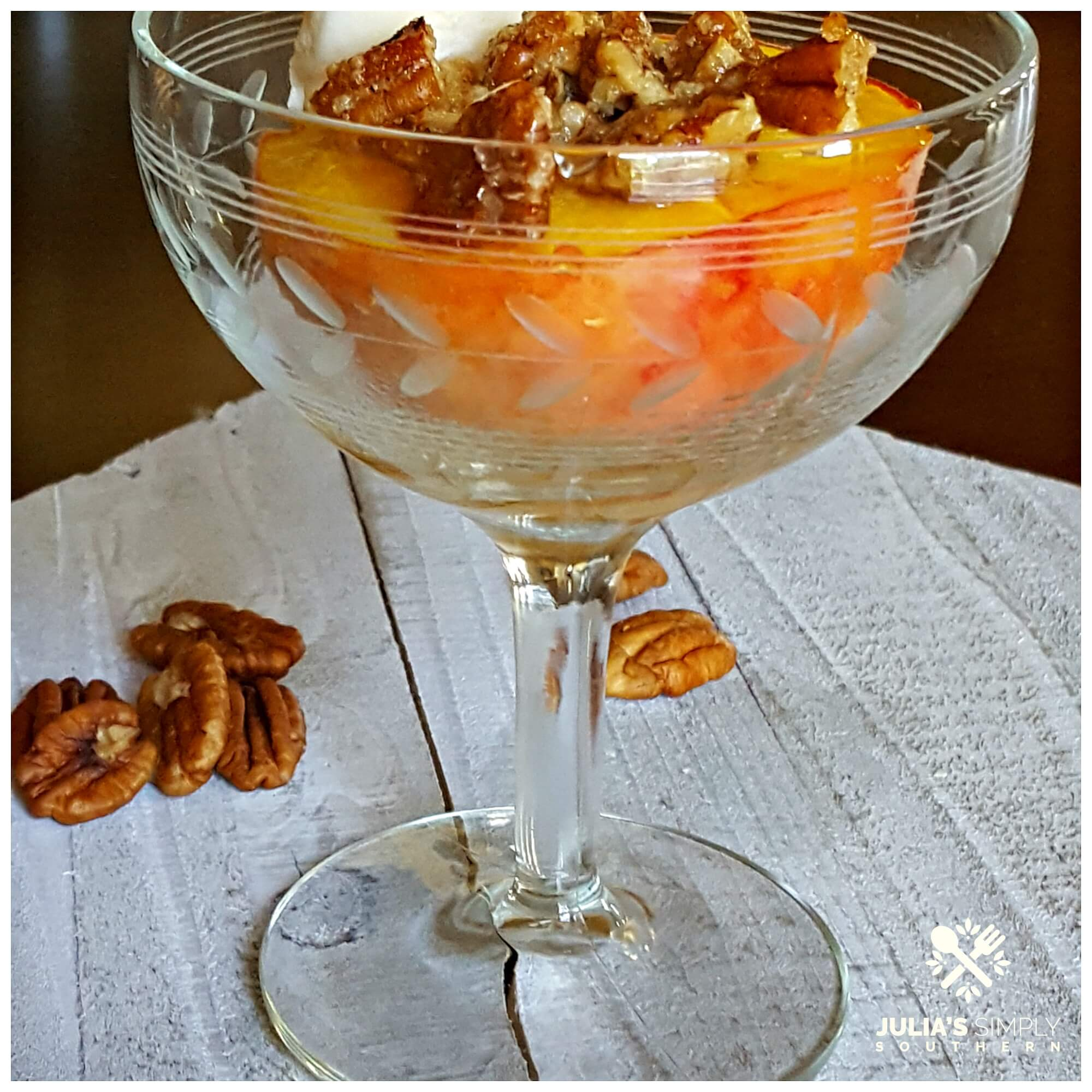 Bourbon Peach Baked Dessert in an antique crystal glass