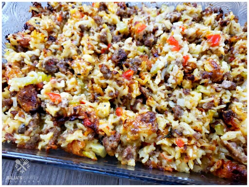 Thanksgiving Rice Dressing with Sausage