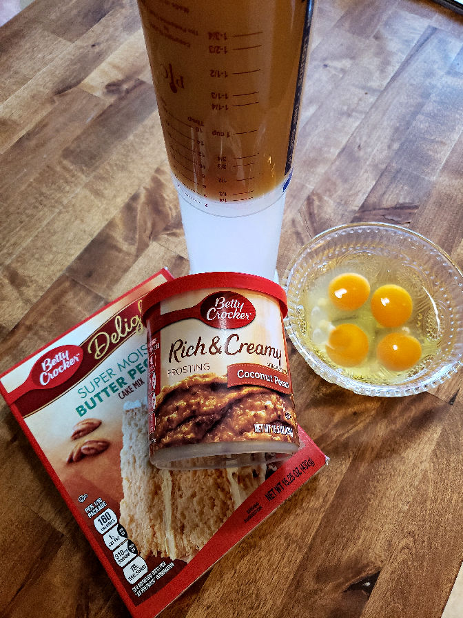 Ingredients to make a butter pecan pound cake