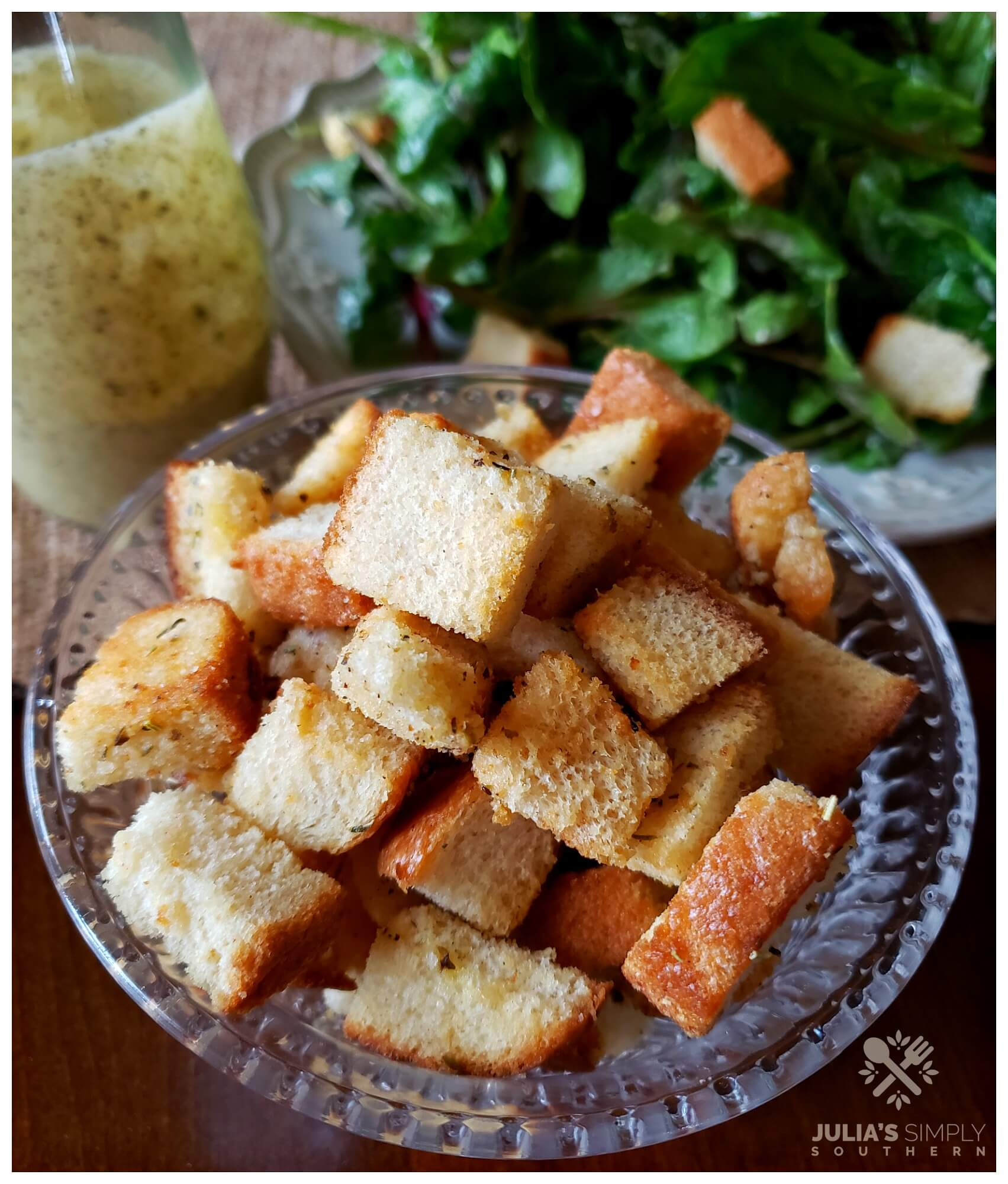Baked Seasoned Croutons - homemade ways to use up stale bread - Easy Recipe