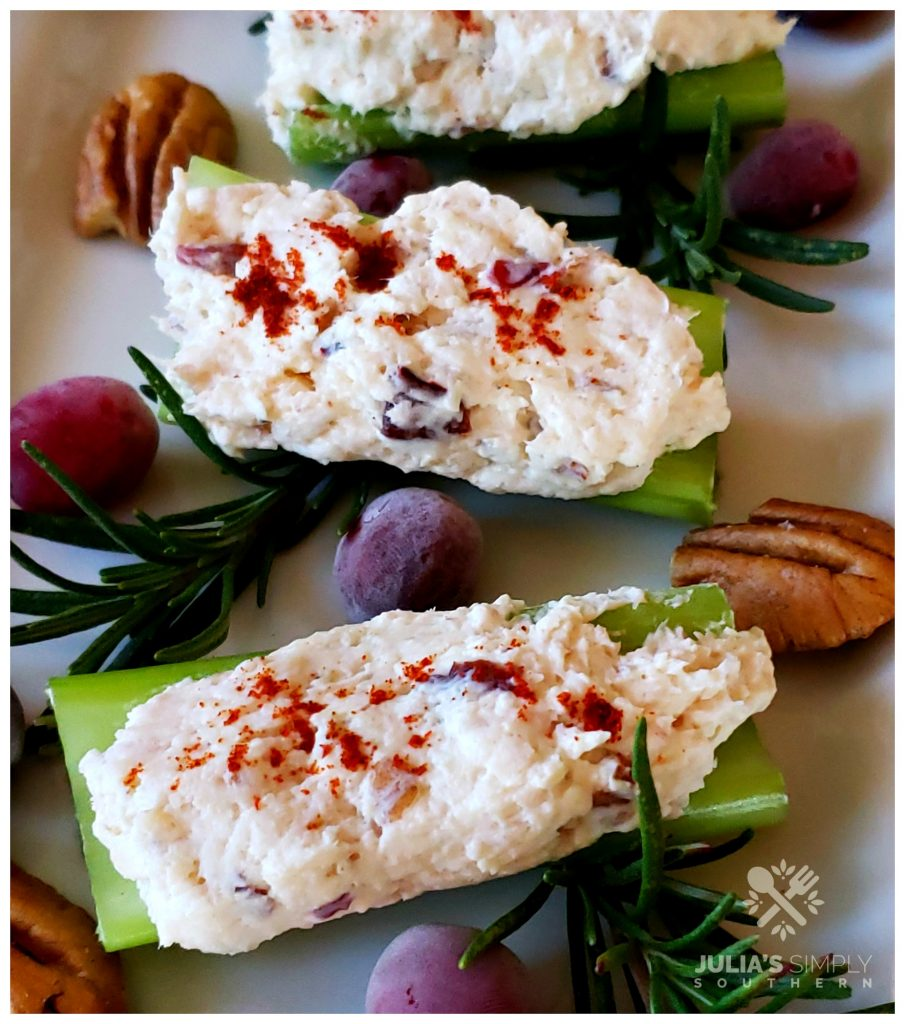 Stuffed celery recipe with chicken, cream cheese cranberry and pecan