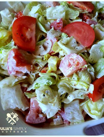Old school mayonnaise salad with lettuce and tomatoes is a Southern favorite recipe