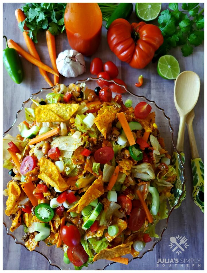 Amazing Dorito taco salad with Catalina dressing is the best taco salad for a crowd