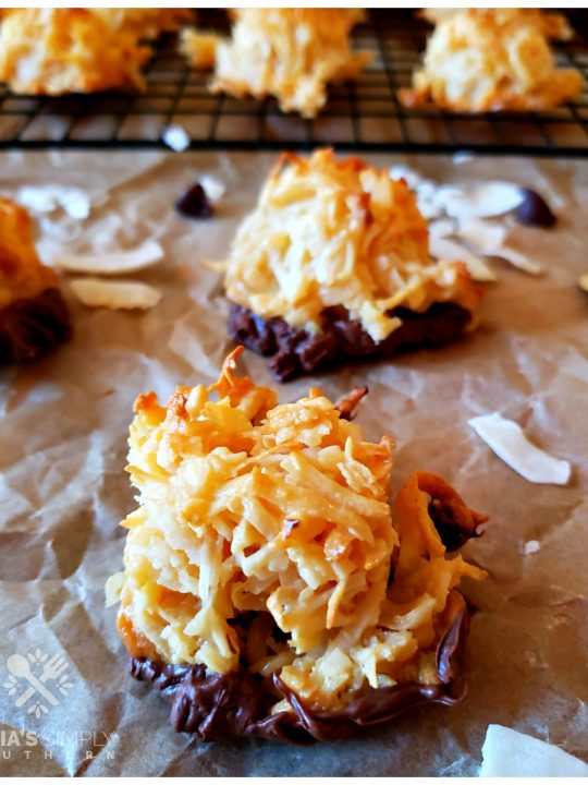 Easy Coconut Macaroons Recipe chocolate dipped