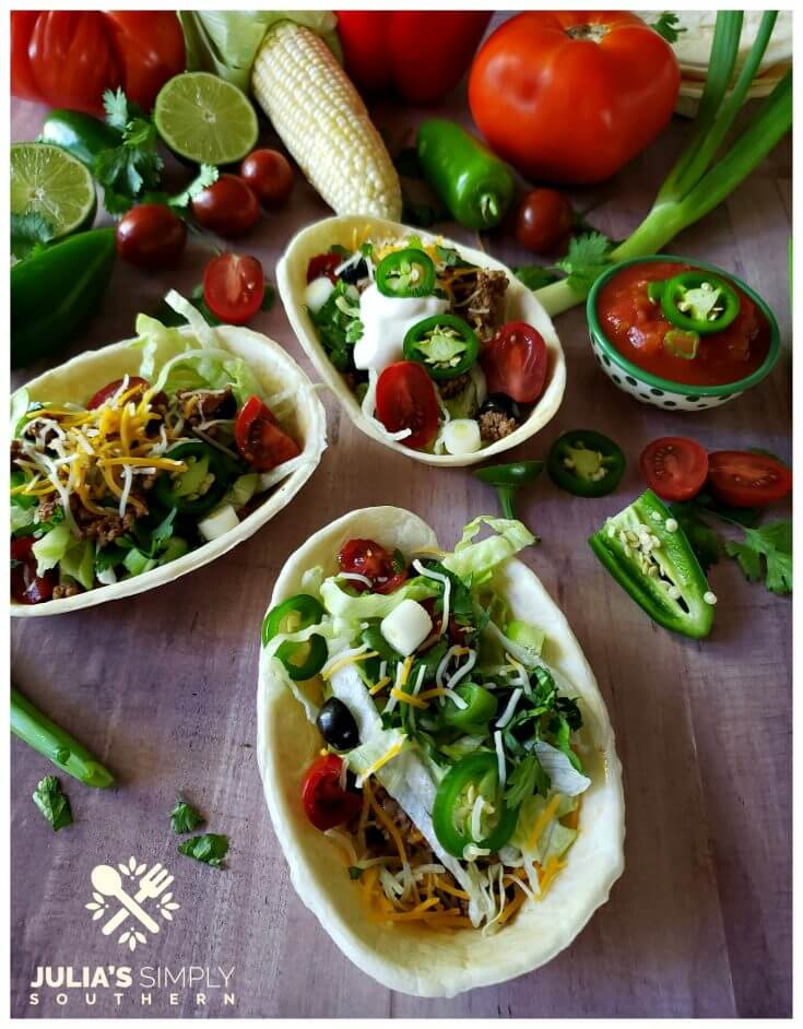 Awesome taco boats for Cinco de Mayo menu or Taco Tuesday