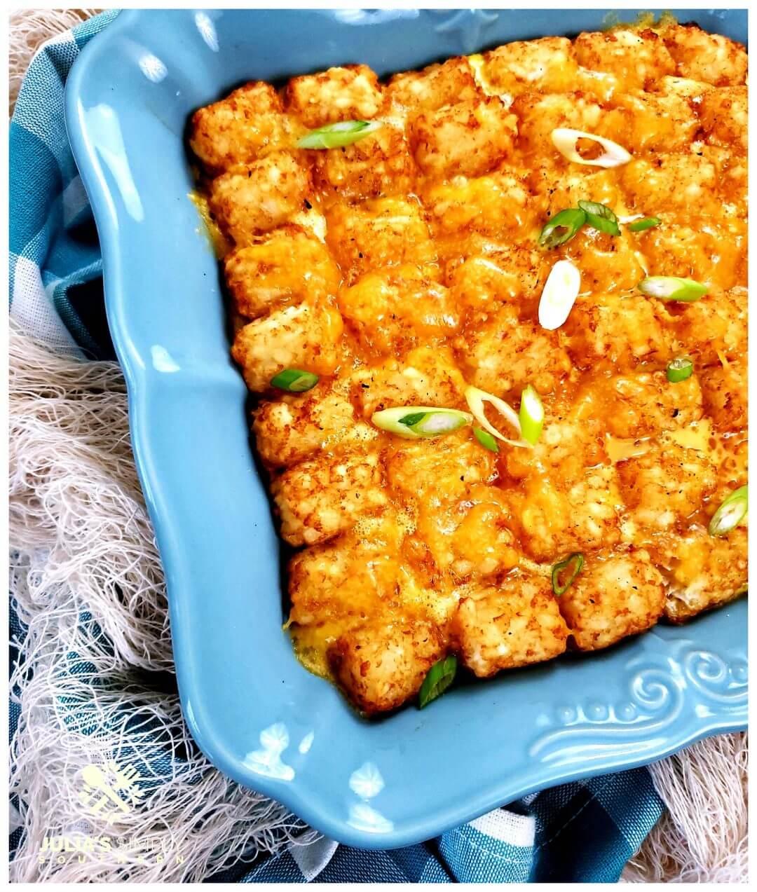 Easy breakfast casserole recipe in a teal baking dish