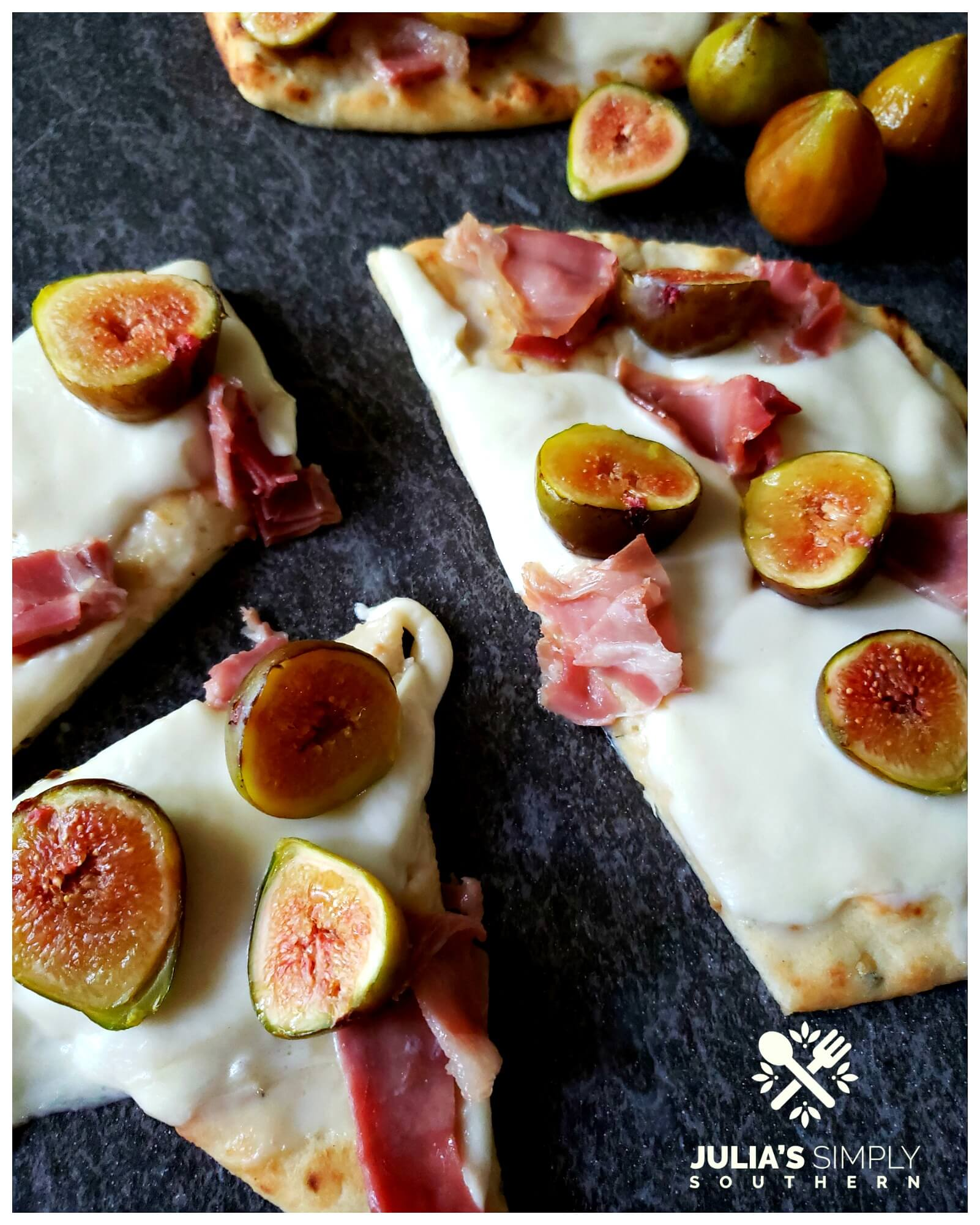 Fresh Fig Pizza that is oven baked on flatbread and so delicious